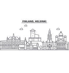 Finland helsinki architecture line skyline vector