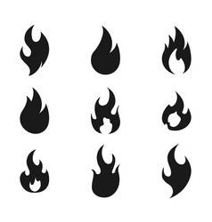 fire flame logo icon set of nine vector image