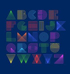 Geometric shapes linear alphabet vector