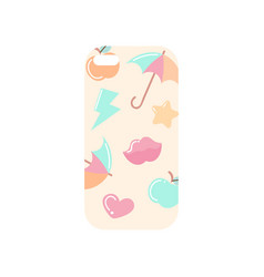 girlish light beige phone cover with colorful vector image