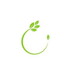 Green leaf organic letter c logo vector