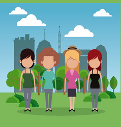 group female park city background vector image