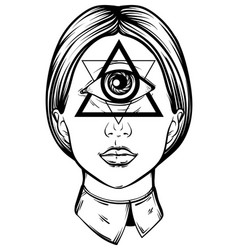 hand drawn cyclops tattoo hand sketched vector image