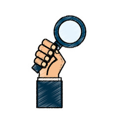 hand human with search magnifying glass icon vector image