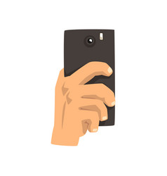 hand taking picture with smart phone snapshot vector image
