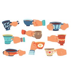 hands with cups people hold ceramic dishes with vector image