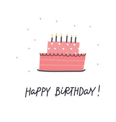 Happy birthday cake lettering card vector