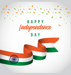 Happy india independence day ribbon template vector