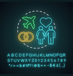Honeymoon trip neon light concept icon vector