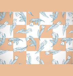 Horizontal card with cute cartoon flowers tulips vector