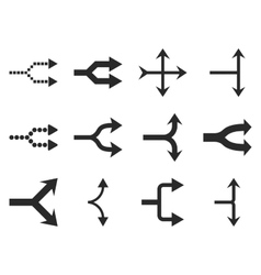 Junction Arrows Right Flat Icon Set vector