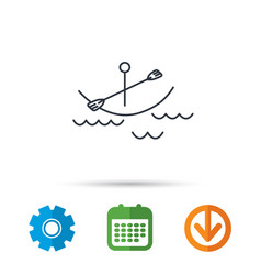 kayaking on waves icon boating or rafting sign vector image
