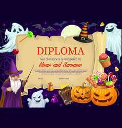 Kid diploma or certificate with halloween vector