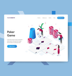 landing page template poker game isometric vector image
