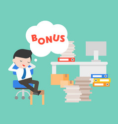 lazy businessman day dreaming about bonus vector image