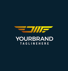 letter jm wing logo design concept template vector image
