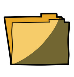 Light colored hand drawn silhouette of folder with vector