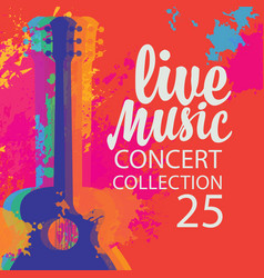 Live music poster with multicolor acoustic guitar vector