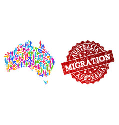 Migration composition of mosaic map of australia vector