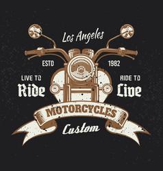 motorcycle front view vintage emblem on dark vector image