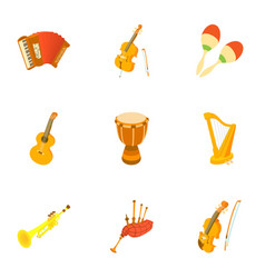 musical tools icons set cartoon style vector image vector image