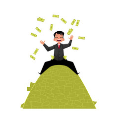 office worker sitting on money pile vector image