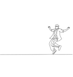 one continuous line drawing young sporty break vector image