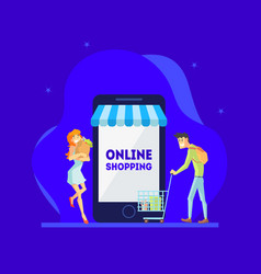 online shopping concept man and woman using vector image