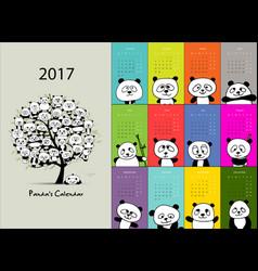 panda calendar 2017 design vector image