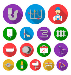 Plumbing fitting flat icons in set collection for vector