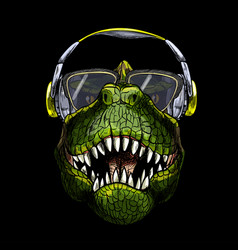 Portrait t-rex in sunglasses and headphones vector
