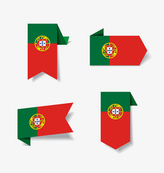 portuguese flag stickers and labels vector image