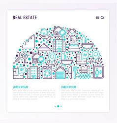Real estate concept in half circle vector