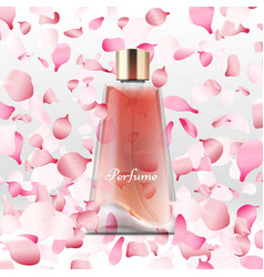 realistic perfume bottle and flying pink petals vector image