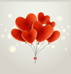 red balloon in heart form celebration decoration vector image