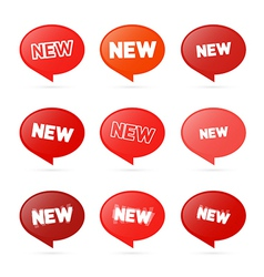 Red Stickers with New Title Isolated on White vector