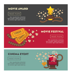 retro cinema and movie theater posters flat design vector image