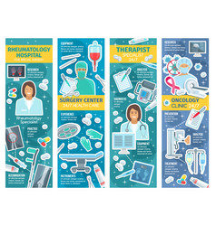 Rheumatology and oncology therapy clinic banners vector