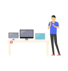 Sale of Technology Design Flat Store vector