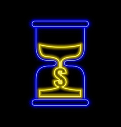 Sand clock neon sign time is money concept bright vector