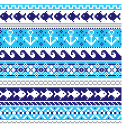 scottish fair isle traditional knitwear pattern vector image