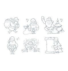 set hand drawn christmas vector image