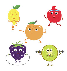 set of funny characters from fruit sports vector image