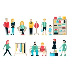 shopping and shipping flat icons set Mall vector image vector image