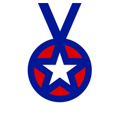 simply award medal badge with star icon vector image