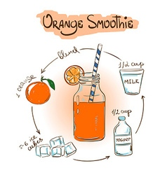 Sketch Orange smoothie recipe vector
