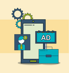 Smartphone business advertising receiving digital vector