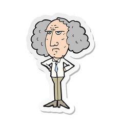 Sticker of a cartoon big hair lecturer man vector