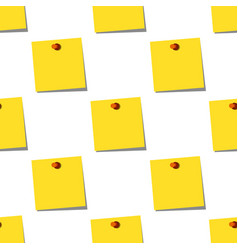 sticky notes memo yellow seamless pattern on white vector image