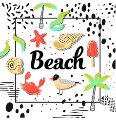 summer beach vacation design with seagulls vector image